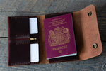 Journeyman harness leather passport wallet full
