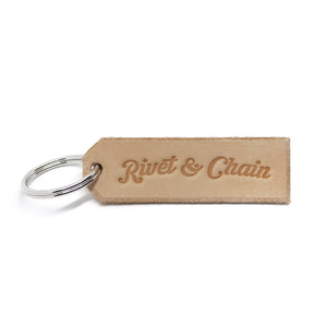 Rivet & Chain Key Ring in natural
