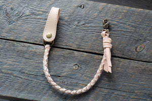 Veg tan leather wallet cord in natural