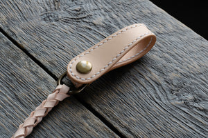 Veg tan leather wallet cord in natural closed
