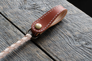 Veg tan leather wallet cord in tan closed