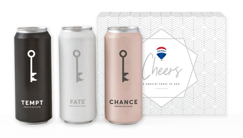 3 pack of WineSociety Wine. Red Blend Tempt, White Blend Fate, and Rosè Chance in RE/MAX branded box