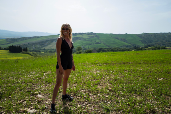 Angela on the hilltop in Tuscany