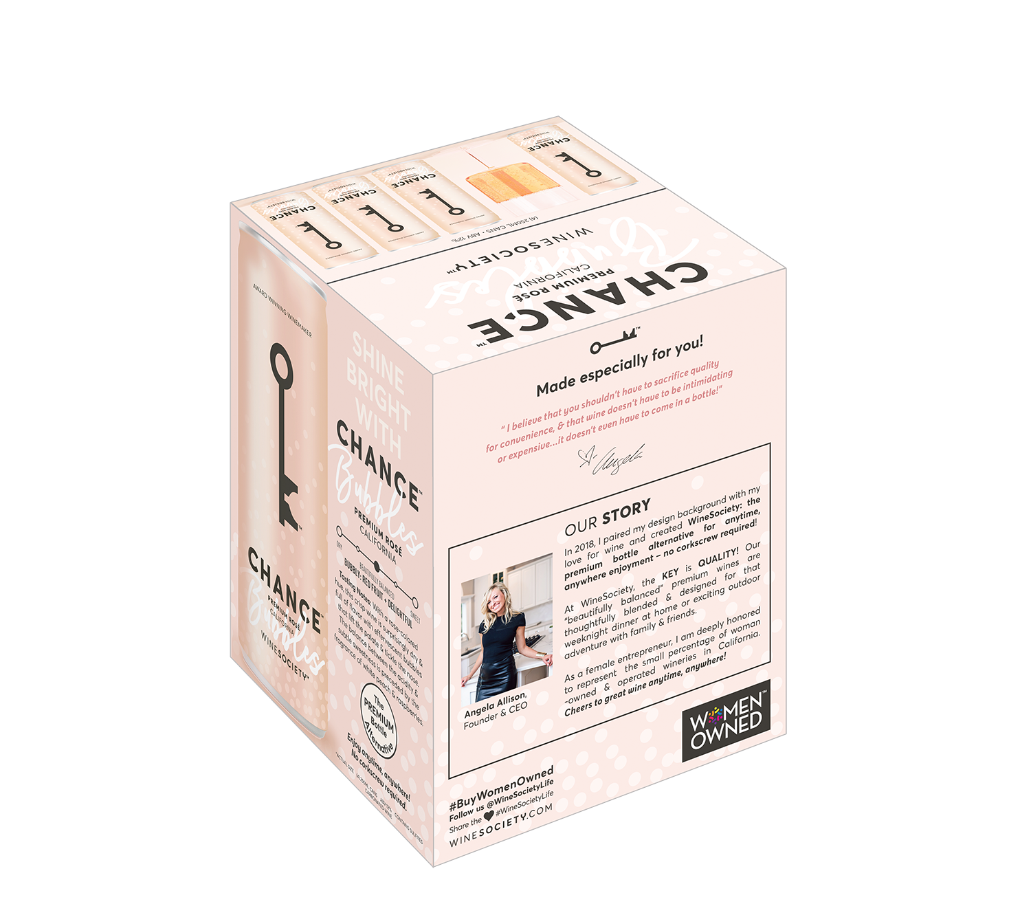 CHANCE Bubbles Rosé 250mL 4-Pack other side