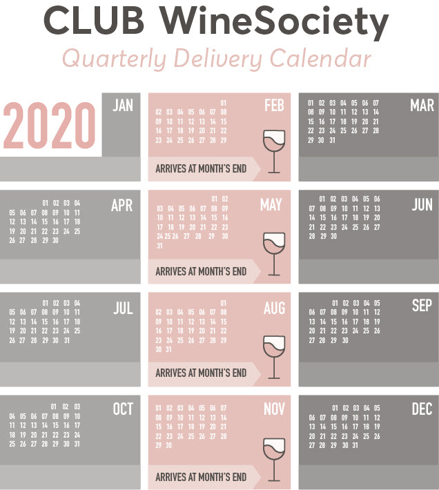 CLUB WineSociety Quarterly Delivery Calendar