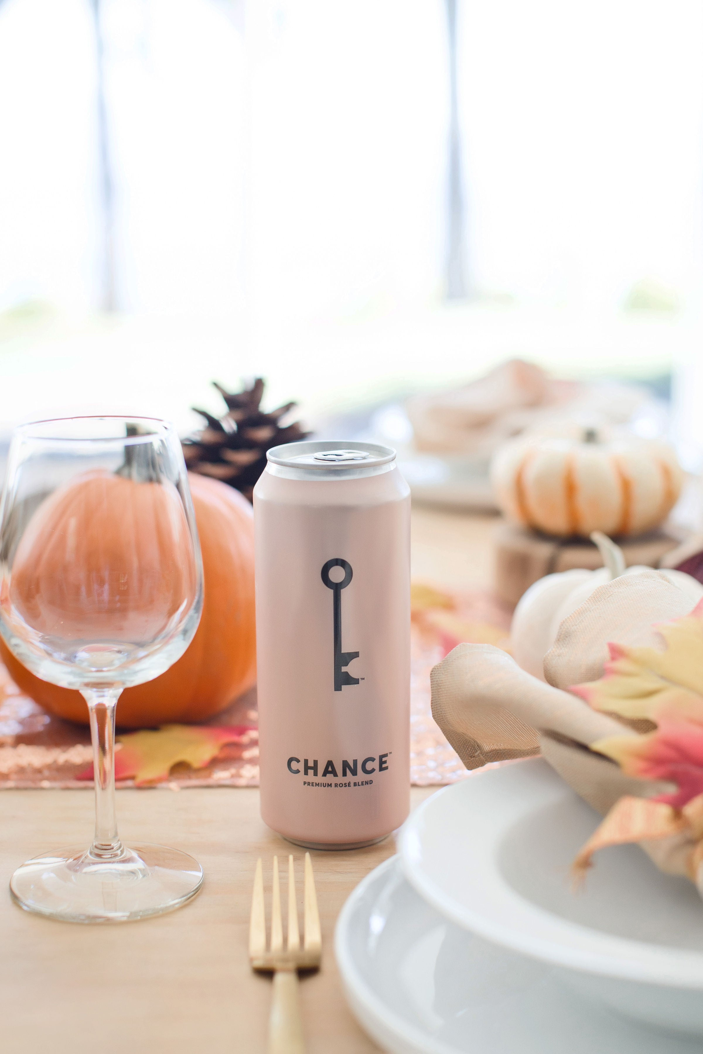 CHANCE rosé wine on a fall holiday table