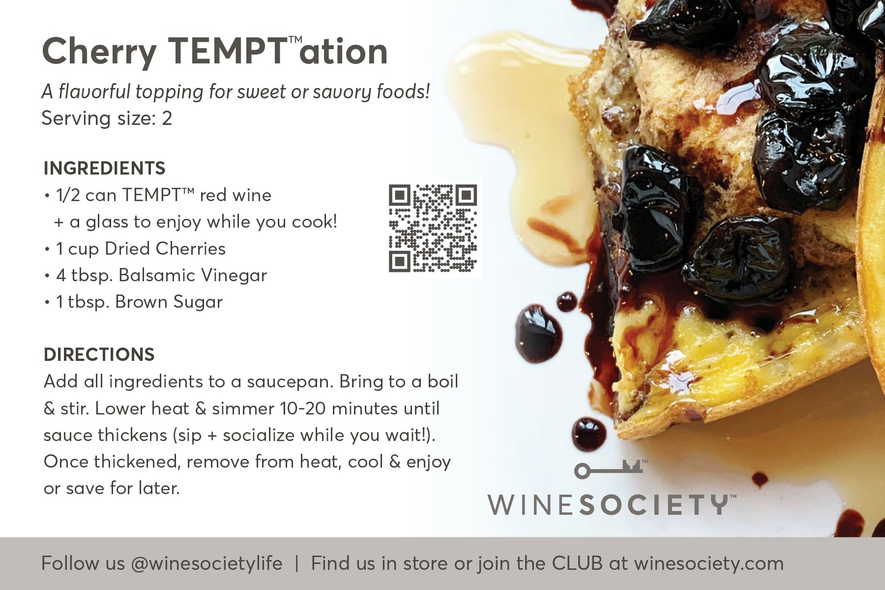 WineSociety 4x6 Recipe Card Cherry TEMPTation topping