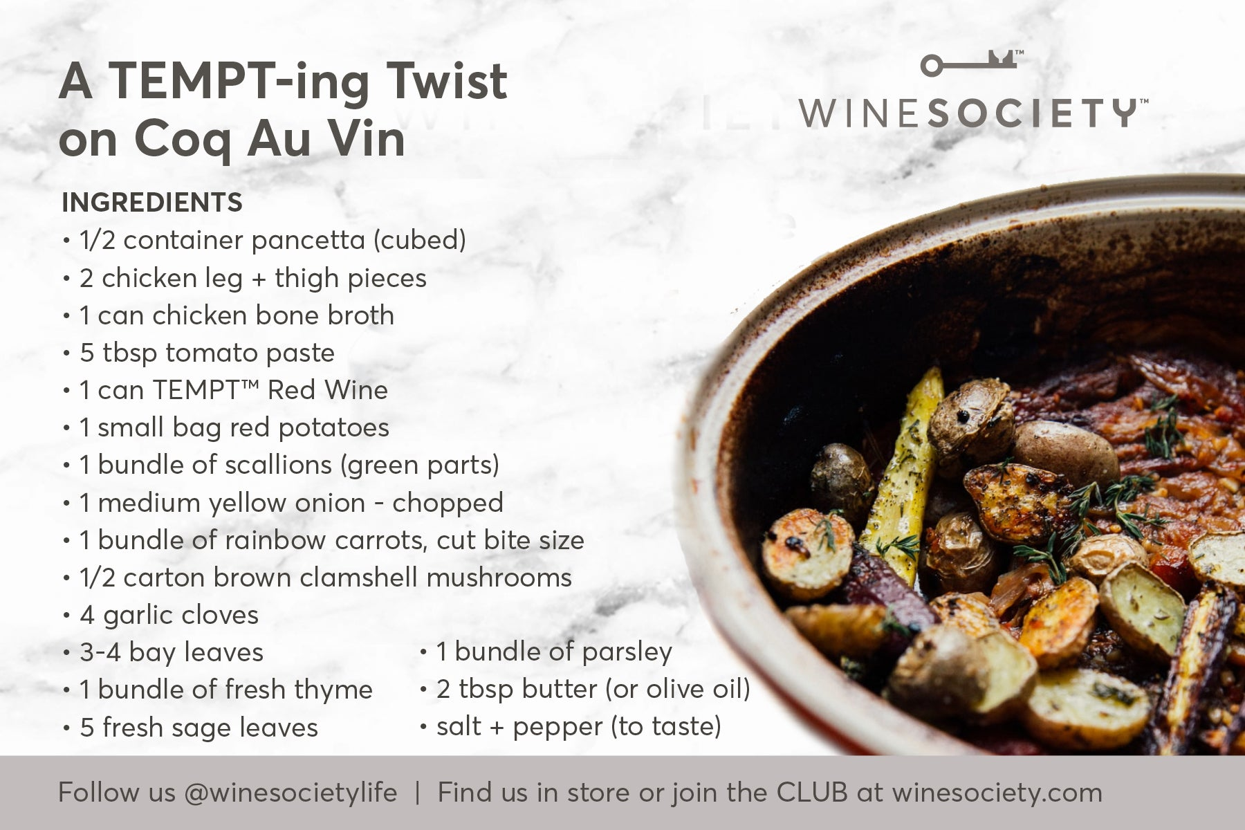 WineSociety 4x6 Recipe Card AtTEMPTing Coq Au Vin