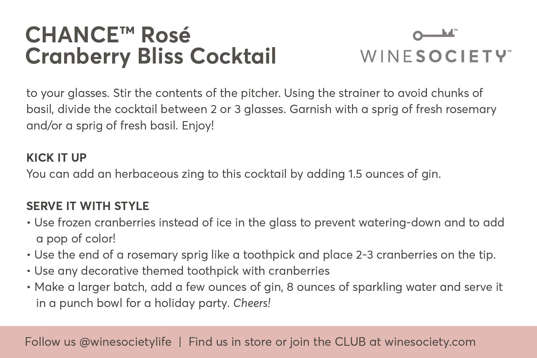CHANCE cocktail recipe card