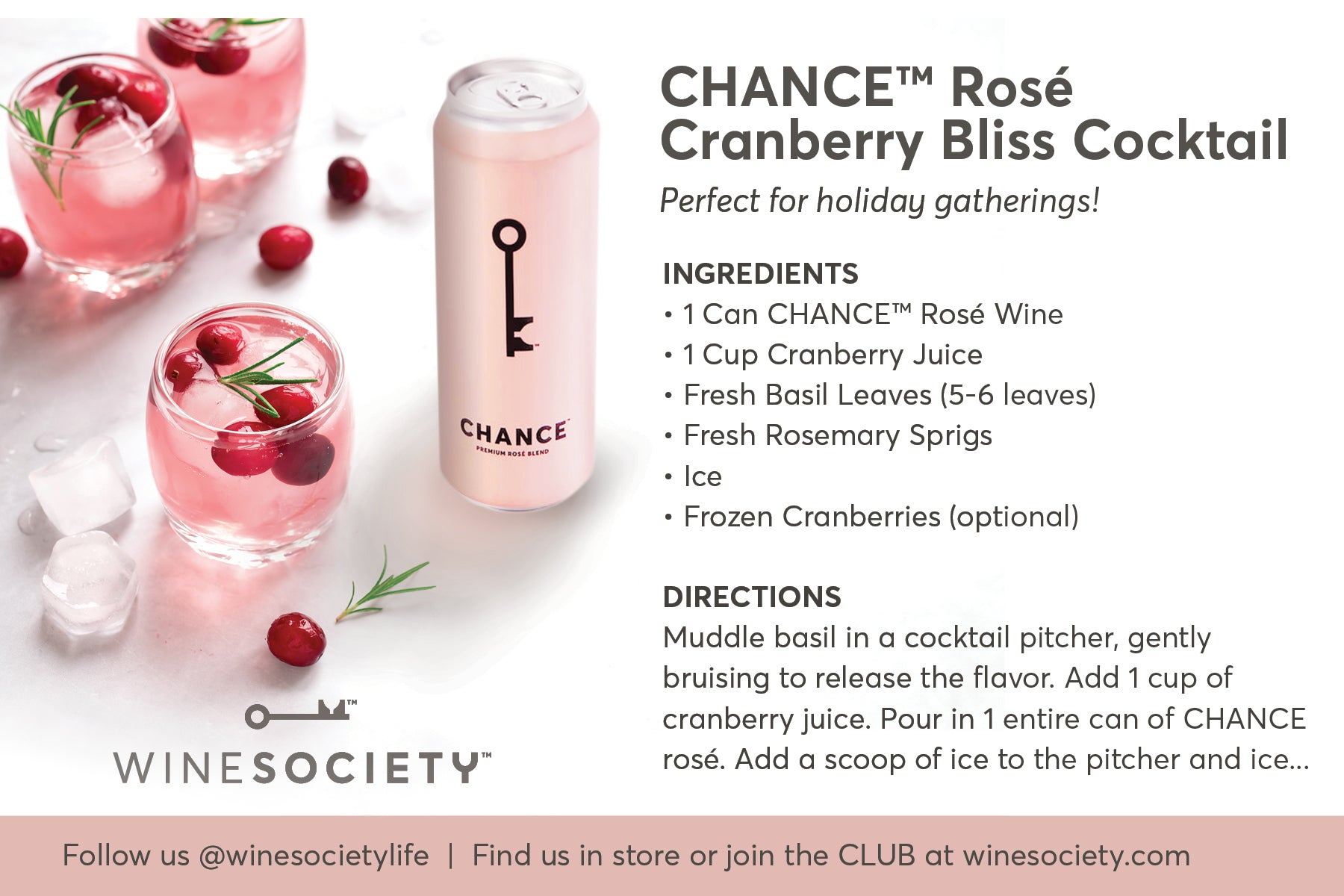 WineSociety 4x6 Recipe Card Cranberry Bliss Cocktail