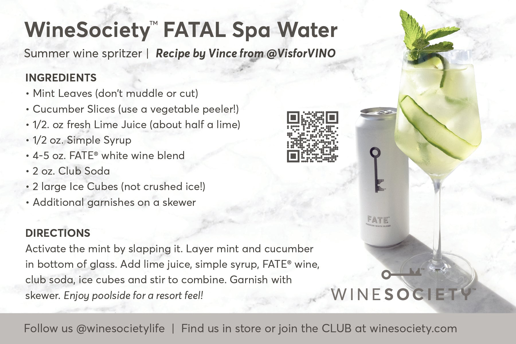 WineSociety 4x6 Recipe Card FATAL Spa Water Cocktail