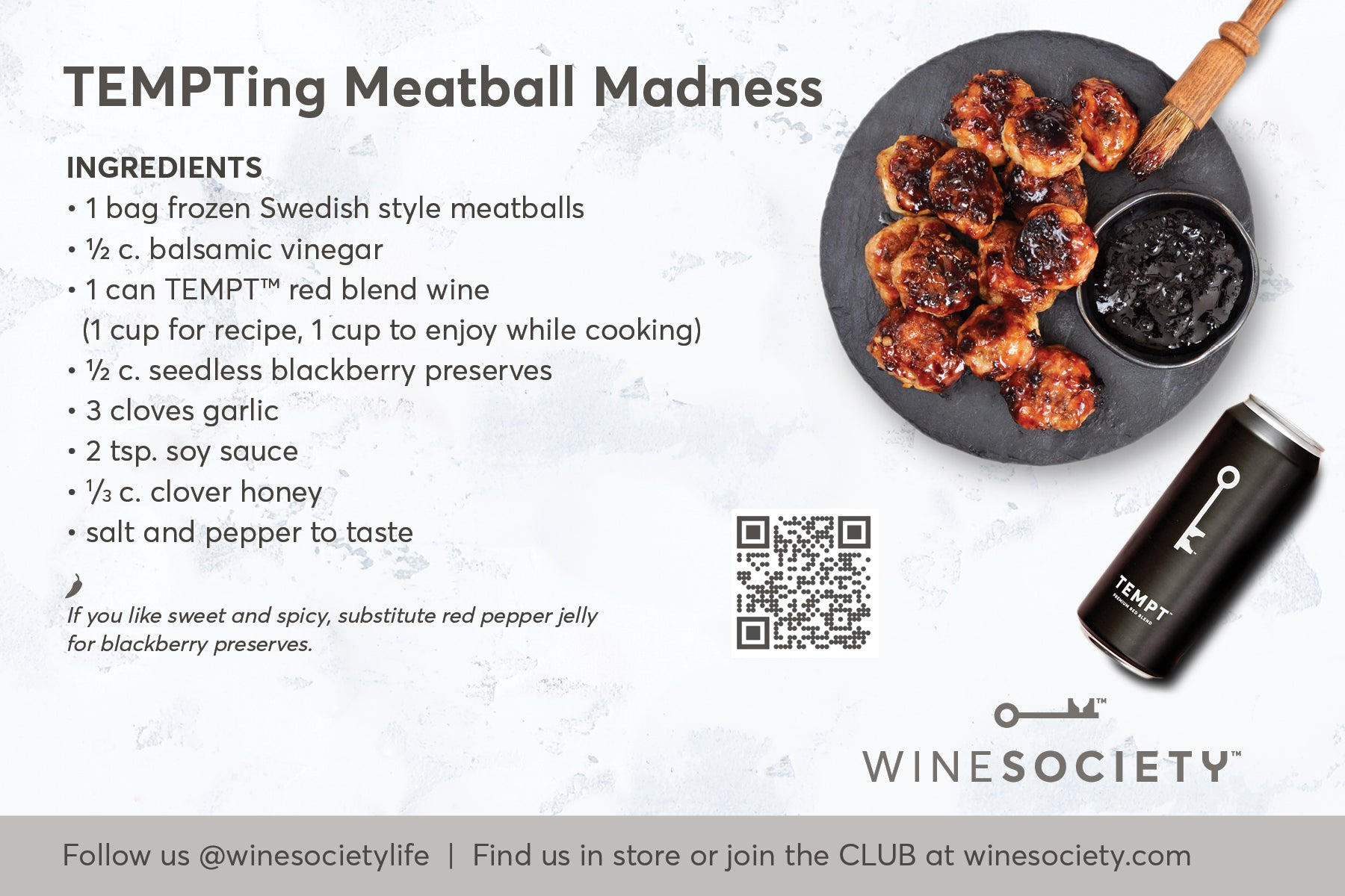 WineSociety 4x6 Recipe Card TEMPTing Meatball Madness