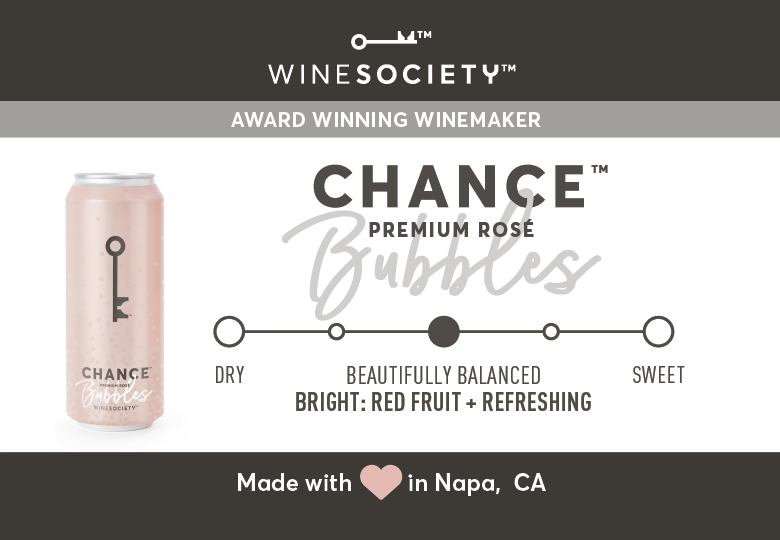 WineSociety CHANCE Bubbles 2.6 x 1.8 Shelf Label - Flavor Scale