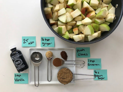 Ingredients for sauteed apples