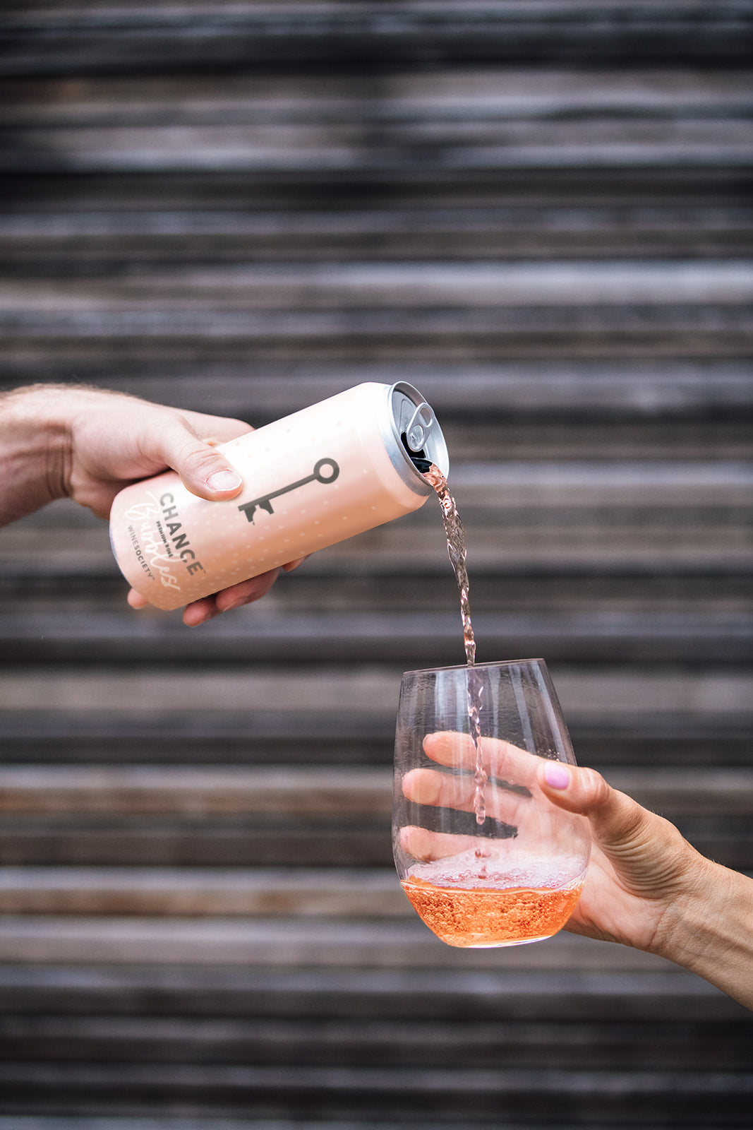 CHANCE Bubbles rosé wine being poured out