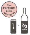 Our premium bottle alternative can is 500mL which eauaks 2/3 of a bottle!