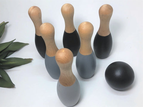 Montessori Bowling Set Gray Tones