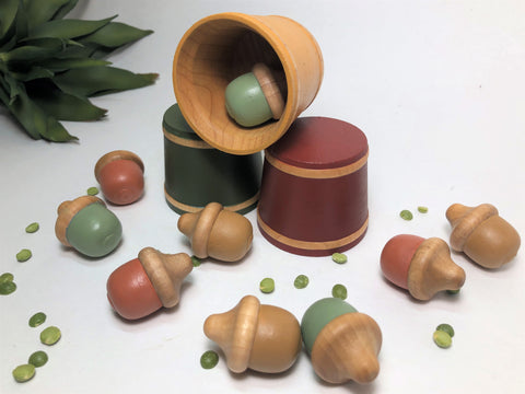 Montessori Toddler Sorting Game Fall Acorn Set