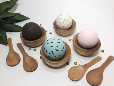 Montessori Wooden Bowl Ice Cream Set