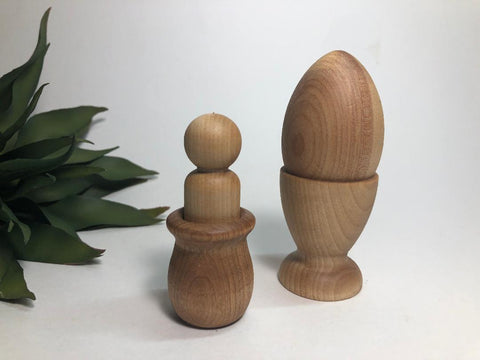 Montessori Wooden Egg Peg Doll Set