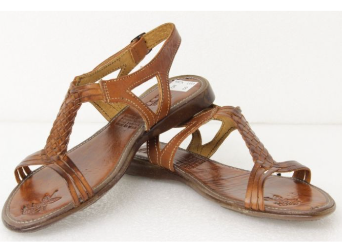 79c3ae749e38 Women s Brown T-Strap Leather Huaraches Mexican Buckle Sandals Hand Woven  ...