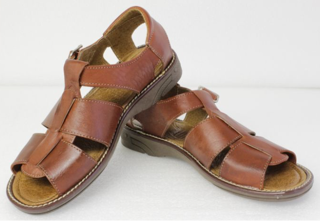 9cf1383febf Men s Brown Genuine Ankle Strap Slip On Leather Mexican Huaraches Sandals  ...