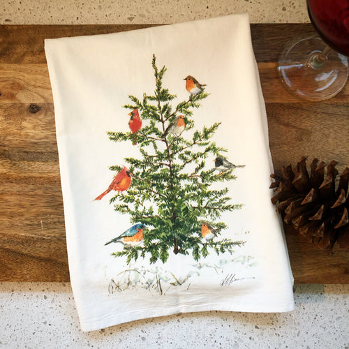 Bird Tree Flour Sack Kitchen Towel