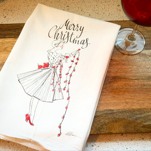 50's Christmas Wine Girl Flour Sack Kitchen Towel