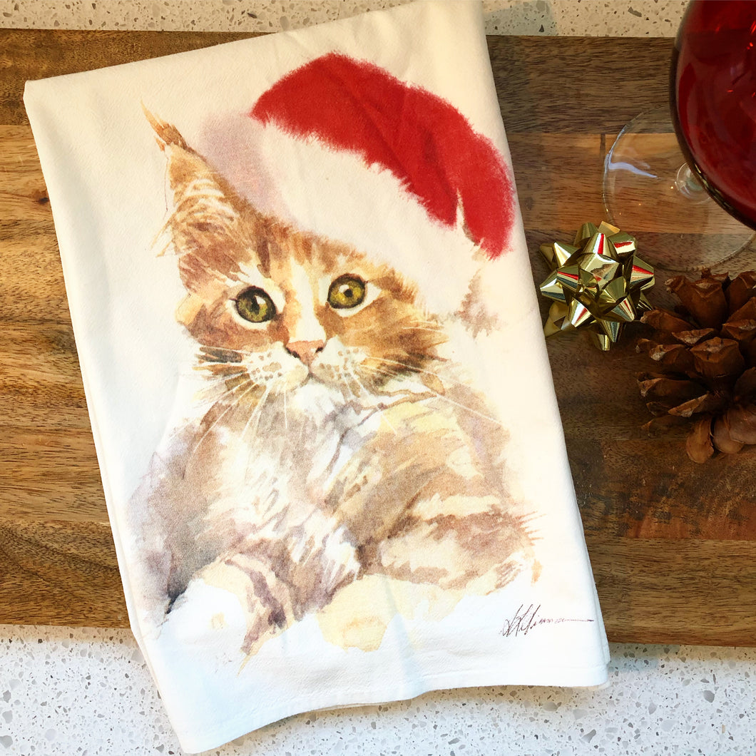 Christmas Kitten Flour Sack Kitchen Towel
