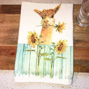 Alpaca Sunflower Flour Sack Kitchen Towel