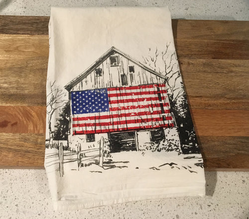 American Flag Barn Flour Sack Kitchen Towel