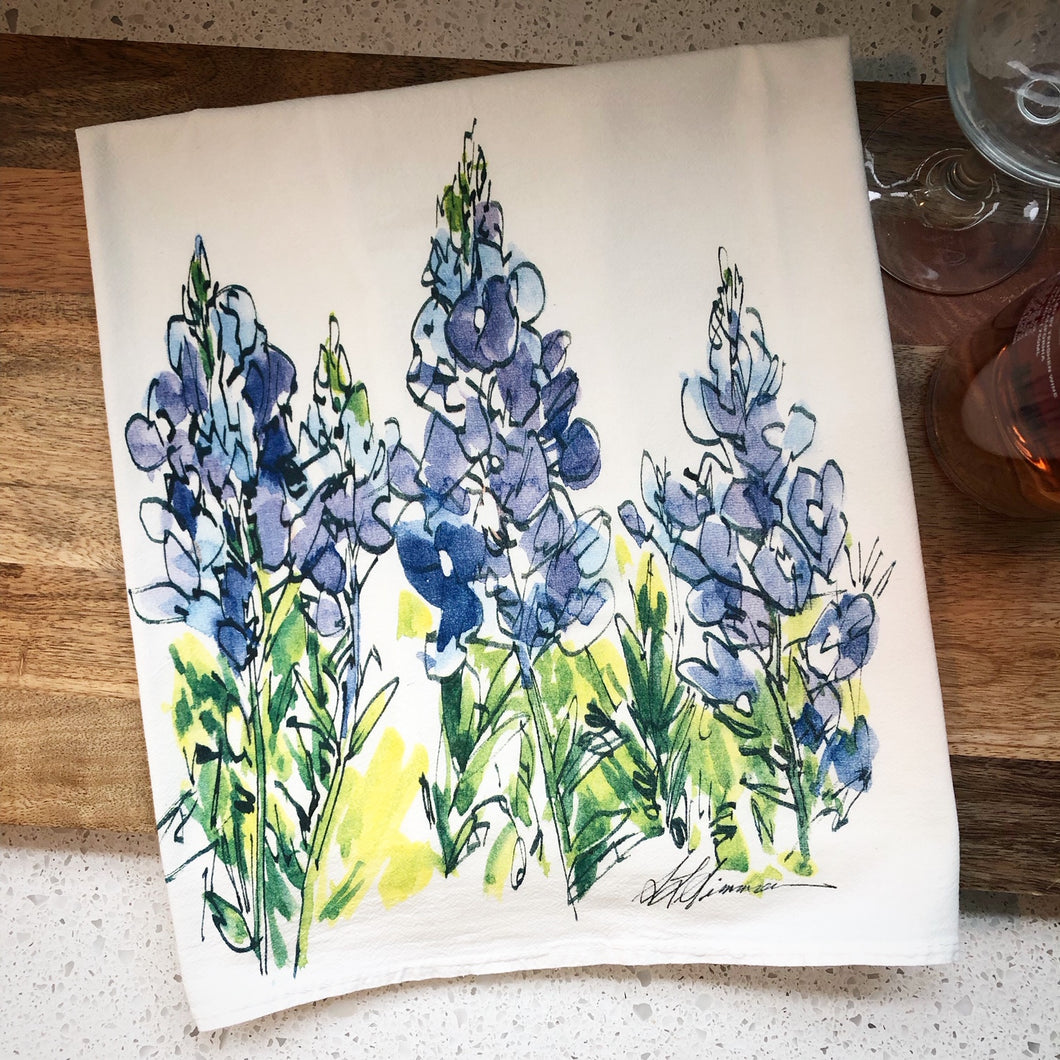Bluebonnet Flowers Flour Sack Kitchen Towel