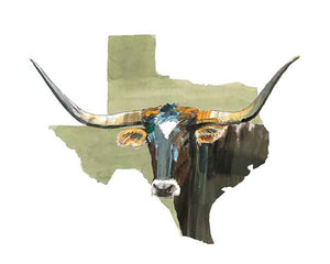 Texas Longhorn Watercolor Print (Brown)