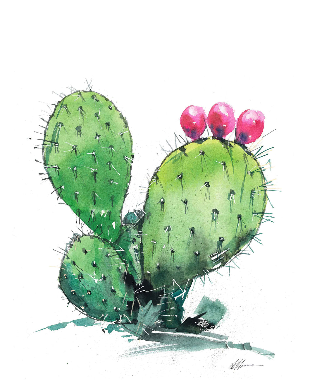 Prickly Pear Vertical Watercolor Print