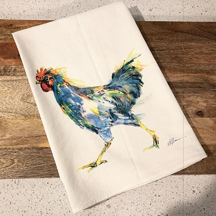 Chicken Run Blue Flour Sack Kitchen Towel
