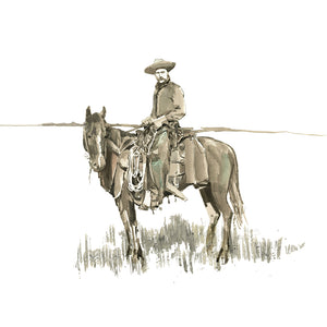 Old West Cowboy Watercolor Print