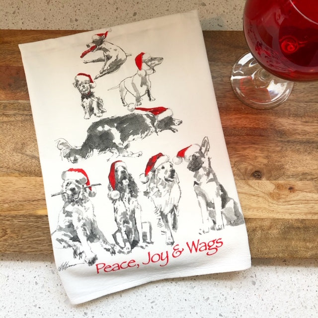 Peace Joy and Wags Christmas Dog Flour Sack Kitchen Towel