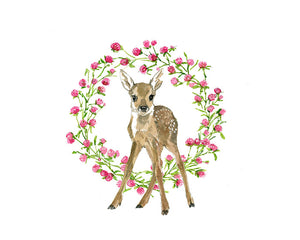Fawn Forward Flowers Nursery Watercolor Print