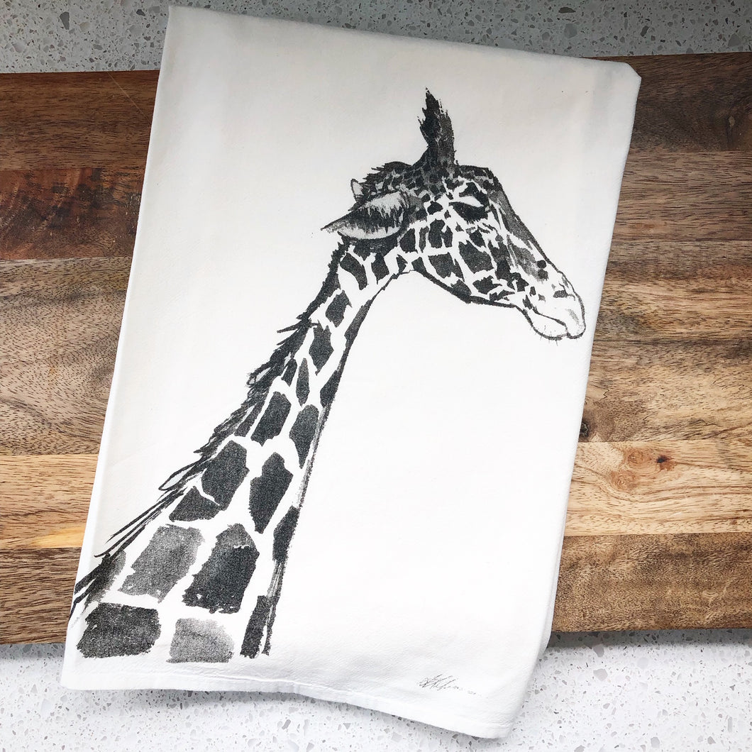 Giraffe Flour Sack Kitchen Towel