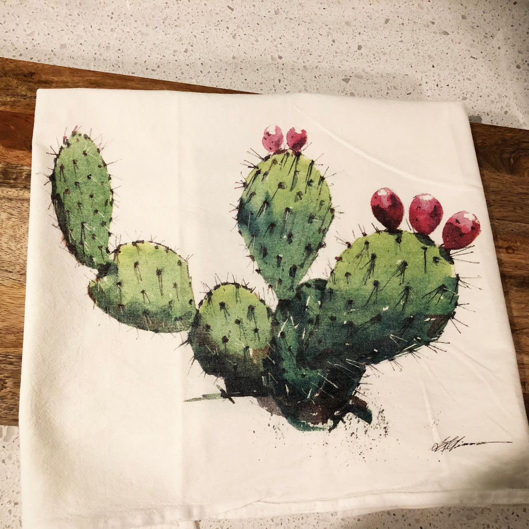 Prickly Pear Cactus Flour Sack Kitchen Towel