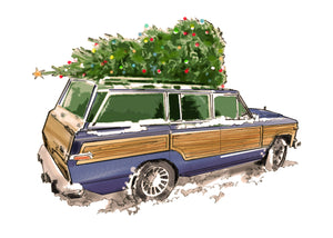 Blue Jeep Grand Wagoneer Christmas Car