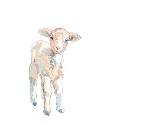 Baby Lamb Nursery Watercolor Print