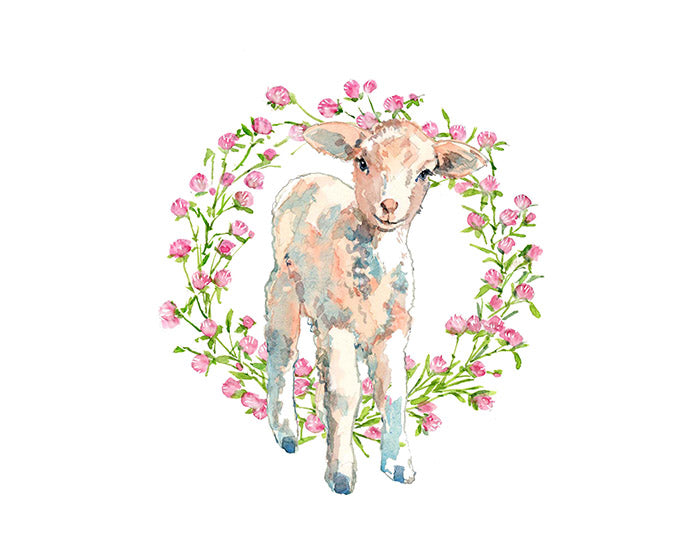 Baby Lamb Flowers Nursery Watercolor Print