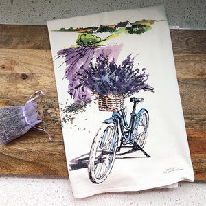 Lavender Bike View Flour Sack Kitchen Towel