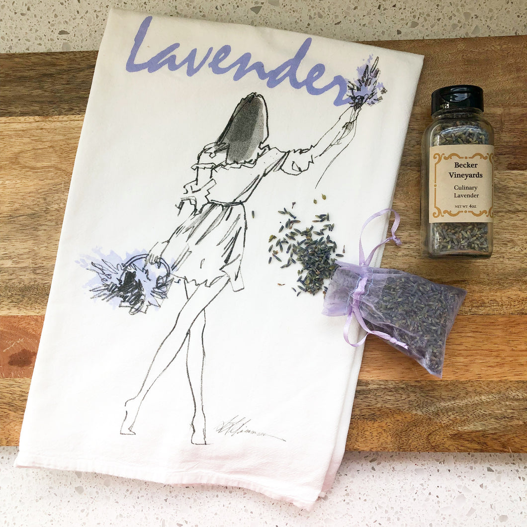 Lavender Girl Flour Sack Kitchen Towel