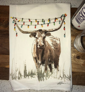 Longhorn Lights Flour Sack Towel