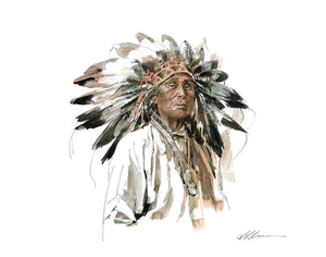 Native American Watercolor Print