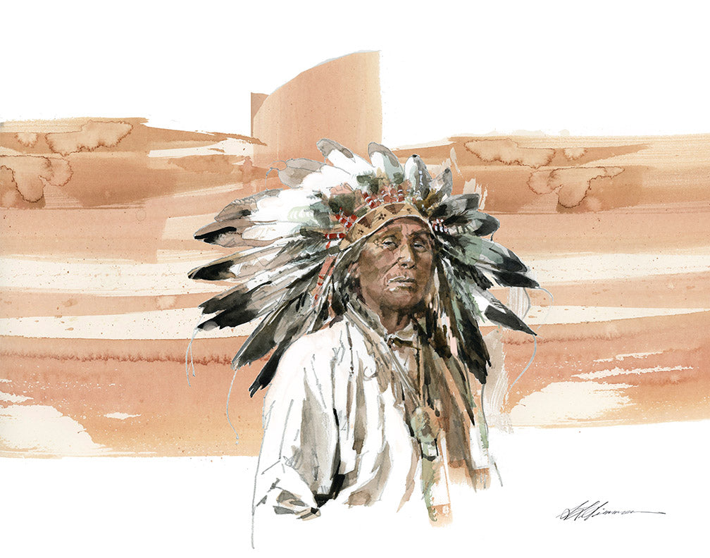 Native American Color Swash Watercolor Print