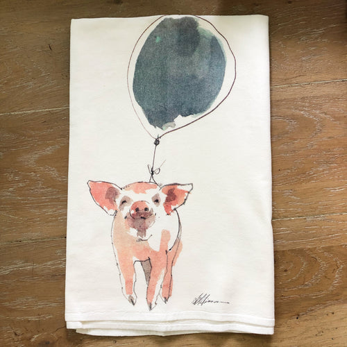 Pig Balloon Flour Sack Kitchen Towel