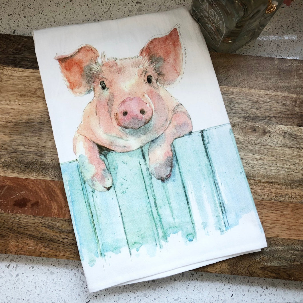 Pig Fence Flour Sack Kitchen Towel